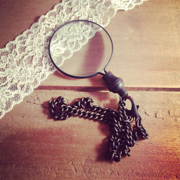 1 - Black Monocle Magnifying Glass Pendant Charm REALLY WORKS Black Vintage Style Jewelry Supplies