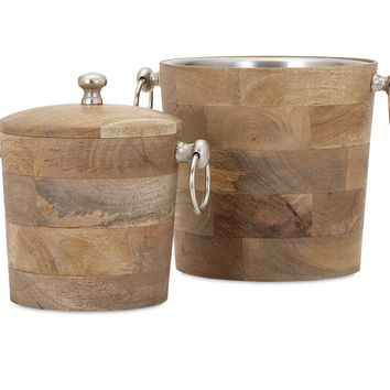 Magnificent makana wood bar buckets - set of 2