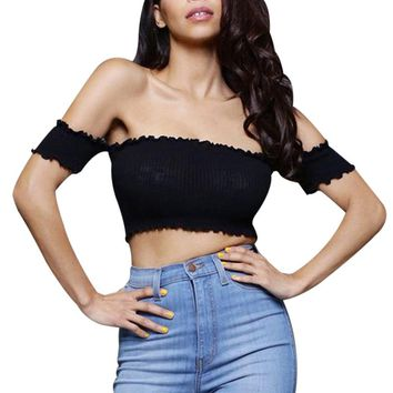 Off Shoulder Elastic Slim Tank Top Women Tops White/Black Short T-shirt Sexy Camis Party Bustier Crop Top 2017 Summer Beach Tube
