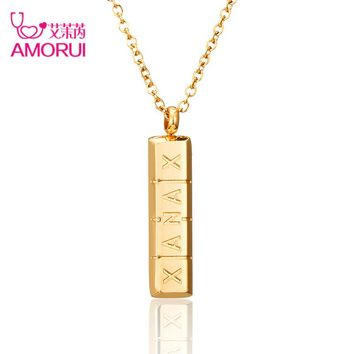 AMORUI Trendy Xanax Vertical Pill Bar Pendant Necklace ID Stainless Steel Women Chain Necklaces Rose Gold Silver Pendant Collier