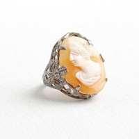 Vintage Art Deco Sterling Silver Carved Cameo Filigree Ring - 1930s Size 2 1/2 Shell Woman Silhouette Statement Jewelry
