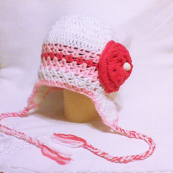 Crochet earflap hat with large flower, girl ear flap beanie, chunky earflap, children flower hat, aviator hat, girly hats
