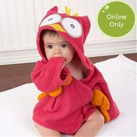 """My Little Night Owl"" Hooded Terry Spa Robe (Pink) - GreenPea Baby"