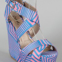 Qupid Curve-02 Geometric Print Criss Cross Platform Wedge