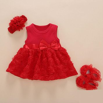 Baby Girls Summer Party Outfit Headband, Dress, Shoes Set (Red or Pink)