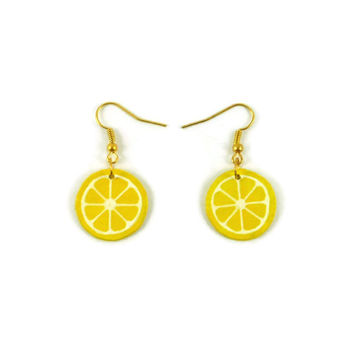 Yellow lemon slices earrings, modern and graphic dangle earrings, plastic fancy gourmand earrings (recycled CD), woman gift idea