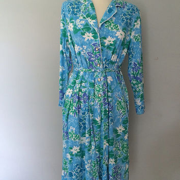 Floral print 1970s day dress / Gay Boyer dress / secretary dress