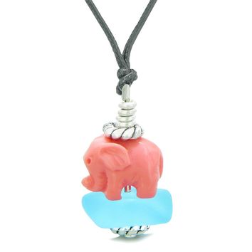 Sea Glass Sky Blue Frosted Cloud Pink Elephant Lucky Charm Magic Amulet Pendant Adjustable Necklace