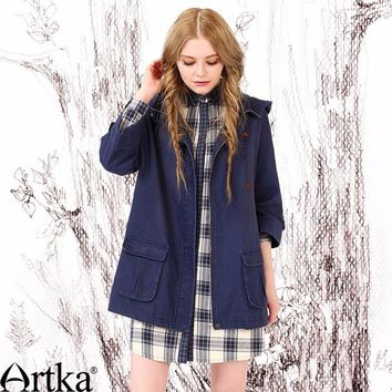Artka Hooded Navy Trench Coat