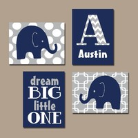 BOY Elephant Wall Art, Navy Blue Boy Elephant Nursery Baby Boy Nursery Wall Art, Boy Bedroom Canvas or Prints Boy Nursery Dream Big Set of 4