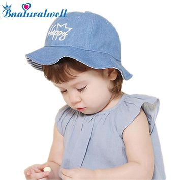Bnaturalwell New Summer Outdoor Beach Bucket Hats For Lovely Newborn Photography Props Boys Girls Cap Reversible Children Caps