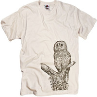 Owl Perching Bird T-shirt Cool Animal Tonal Graphic Birds Tee Shirt