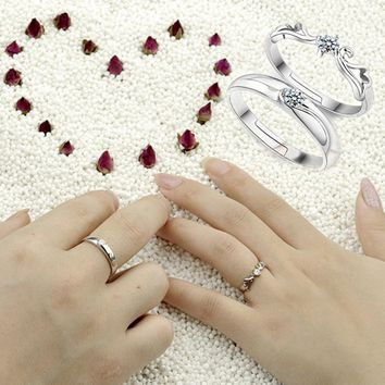 High Quality Couple Lovers Rings Angel Wings Shaped Cubic Zircon Adjustable Silver Plated