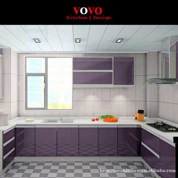 U-Shaped modern luxury high gloss lacquer kitchen cabinet