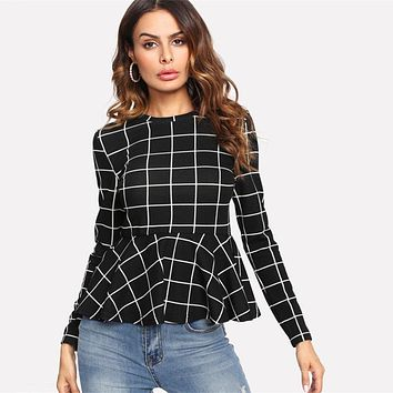Plaid Grid Peplum Ruffle Blouse Round Neck Long Sleeve Fall Top Women Elegant Office Ladies Work Wear Blouse