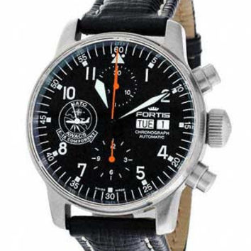 Fortis Flieger Chronograph NATO AWACS - Black Dial - Black Leather Strap