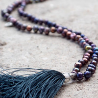 Fall colored plum pearl necklace with a deep grey tassel Berry hand beaded bohemian tassel necklace with silver heart charms Japa mala beads