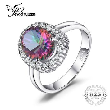 3ct Natural Mystic Fire Rainbow Topaz Engagement Wedding Ring Women Solid Genuine 925 Sterling Silver 2015 New Fine Jewelry Hot