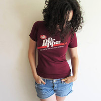 True Vintage XS/S 70s Maroon Dr Pepper Soda Fitted T Shirt