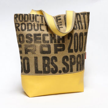 Recycled Burlap Coffee Sack Market Tote Bag