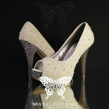 Ivory Mixed Pearls 3mm Clear Crystal Luxury Peep Toe Heels by MDNY