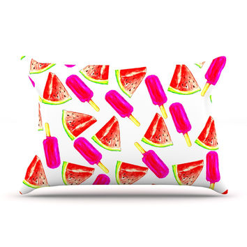"Sreetama Ray ""Strawberry & Watermelon"" Pink Red Pillow Case"