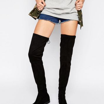 ASOS KARLIE Tall Leg Flat Over The Knee Boots