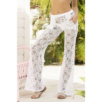 Mapale 7892 Cover Up and Beach Pants Color White