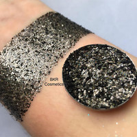 Holographic black pressed glitter eyeshadow, 26mm magnetic pan or jar, cosmetic grade glitter