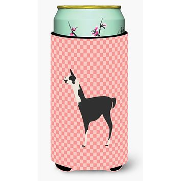 Llama Q' Ara Pink Check Tall Boy Beverage Insulator Hugger BB7918TBC