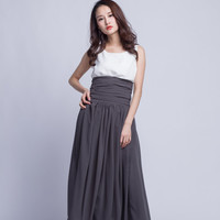 Floor Length Summer Skirt High Waist Maxi Skirts Beautiful Chiffon Long Skirt Pleated Waist Women Skirt (501) ,49#