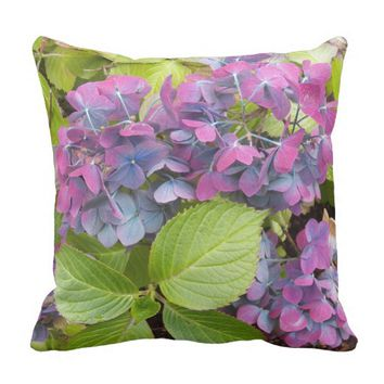 Colorful Hydrangeas Floral Throw Pillow