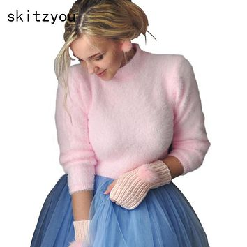 skitzyou Autumn Warm Turtleneck Knitted Short Sweater Winter Long Sleeve Pullover Black Tops Sexy Pink Jumper Basic Crop Top