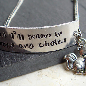 Engraved Song Lyric Bracelet with Cute Fox, Song Lyric Jewelry- And I'll believe in grace and choice