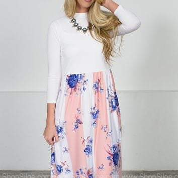 Peach Block Floral Midi Dress