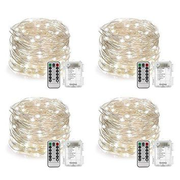 4 Set Fairy String Lights Waterproof 8 Modes Fairy Lights Twinkling 16.4FT 50 LED String Lights with Remote Control for Bedroom Wedding Halloween Thanks Giving Christmas Decor (Daylight White)