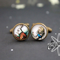 Alice in Wonderland White Rabbit  cuff links print geekery  wedding father's day Lewis Carroll