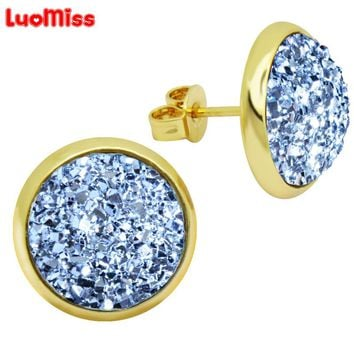 New Arrival 12mm Crystal Cluster Stud Earrings Women Round Crystal Gem Silver Rose Gold Color Woman's Earrings Jewelry Gift