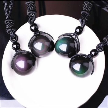 Fashion Women and Men Black Obsidian Rainbow Necklaces & Pendants Natural Stone Pendant Transfer Good Lucky Love Energy Gift