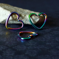 Rainbow Heart Cartilage Earring (16G)