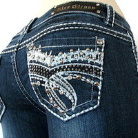 "NWT MISS CHIC BOOTCUT JEANS ""BRONX BLING""  SZ 1-15   HURRY BUY ME NOW"