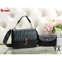 FENDI Fashionable Women Leather Shoulder Bag Tote Handbag Set Two-Piece Green