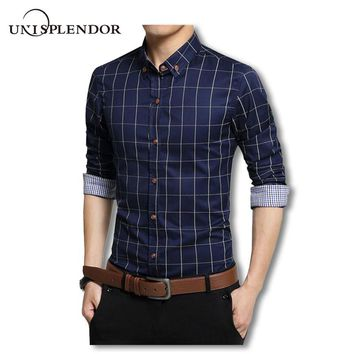 Plus Size 4XL 5XL 2018 Men's Plaid 100% Cotton Dress Shirts Male Long Sleeve Slim Fit Business Casual Shirt Camisa For Man YN259