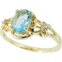 Swiss Blue TOPAZ 14k Diamond Accent Ring
