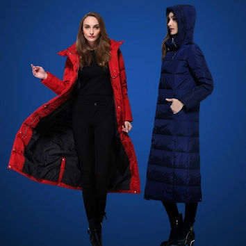 Fashion normic ultra long thickening slim long design Women down coat with a hood winter outerwear thermal W1608