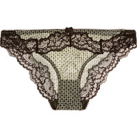 Stella McCartney - Anna Printing lace-trimmed mesh briefs