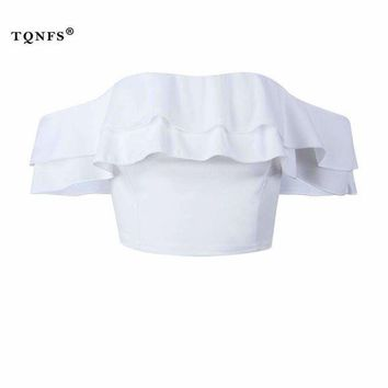 ONETOW TQNFS Sexy Off Shoulder Womens Tops And Blouses Ruffles Backless White Women Blouses 2018 Summer Blouse Women Crop Top
