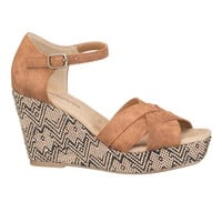 Delia Embroidered Platform Wedge - Beige