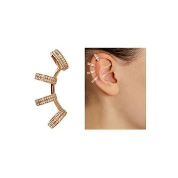 Pair of Chic Rhinestones Circle Clip Earrings For Women   Golden
