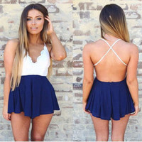2015 Foreign trade Europe and America New Jumpsuit Cross V-neck Backless Sling Ultrashort Rompers Womens Jumpsuit Free Shipping